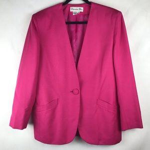 Christian Dior Blazer Pink Single Button Size 12